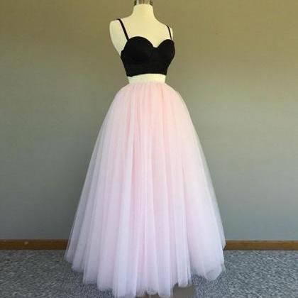 Cheap Two Piece Black And Pink Prom..
