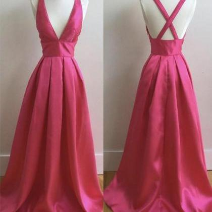 Plunging V A-line Long Prom Dress, ..