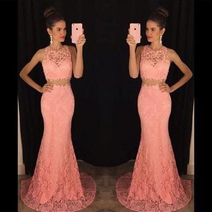 Prom dress Formal dress Two Piece Pink O Neck Court Train Lace Trumpet Mermaid Prom Dress