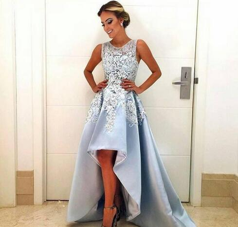 Cheap prom dresses 2017,High Low Style Prom Dresses Custom Sky Blue Lace Satin Cocktail Party Gowns 2017 Special Occasion Short Front Long Back Formal Dress Gowns