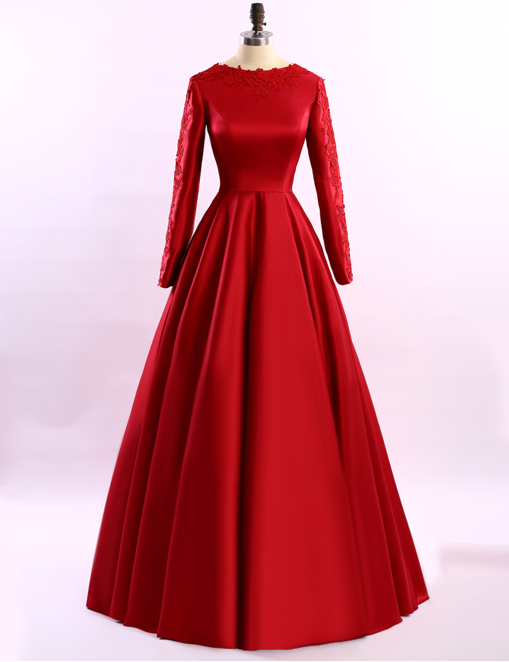 Cheap prom dresses 2017,Simple Long Sleeve Red Evening Dresses 2017