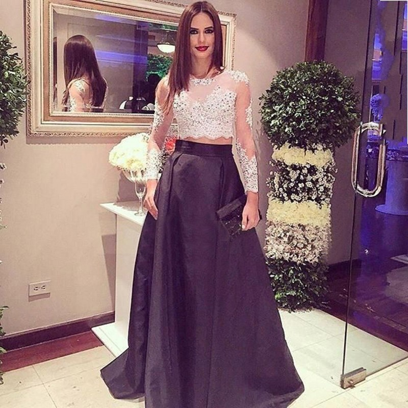 Stunning Two Piece Long Sleeves Crop Top 2017 New Designer Black Prom Dress  with Lace Beading. Stunning Two Piece Long Sleeves Crop Top 2017 New Designer Black