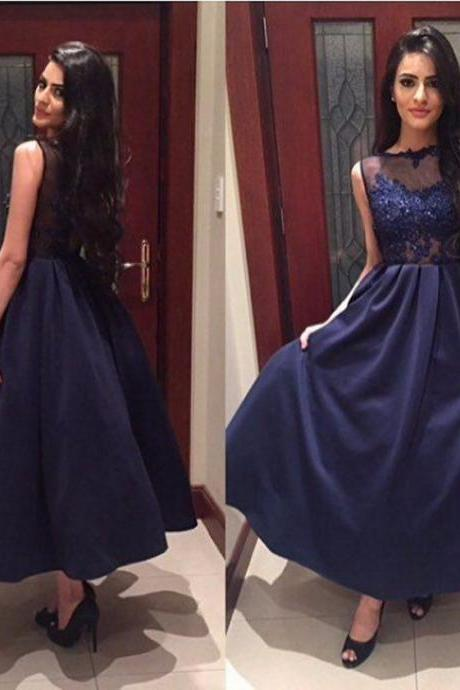 Cheap prom dresses 2017 Navy Blue Floor-length A-line Satin Prom Dresses 2017