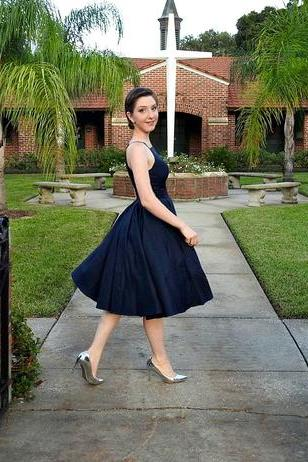 Tea Length Navy Blue Formal Occasion Dress
