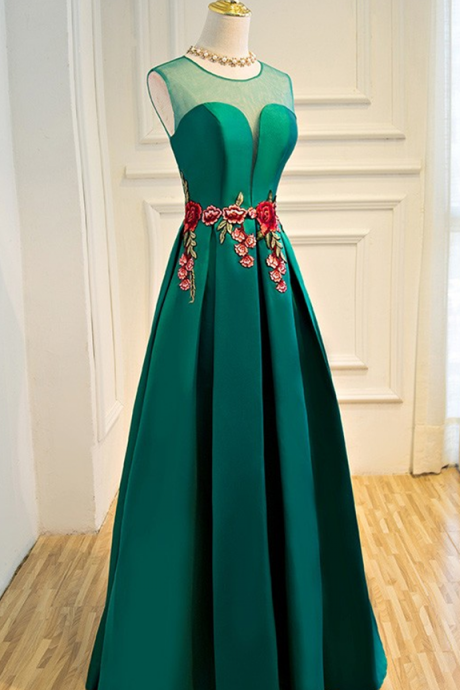 Evening Dress Sheer Plunging Neck Emerald Green Long Formal Occasion Dress with Appliques