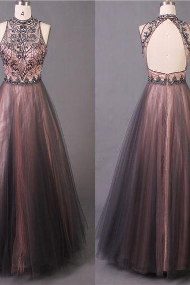 Beaded Prom Dress,Backless Prom Dress,Party Dress,Fashion Prom Dress,Sexy Party Dress,Custom Made Evening Dress