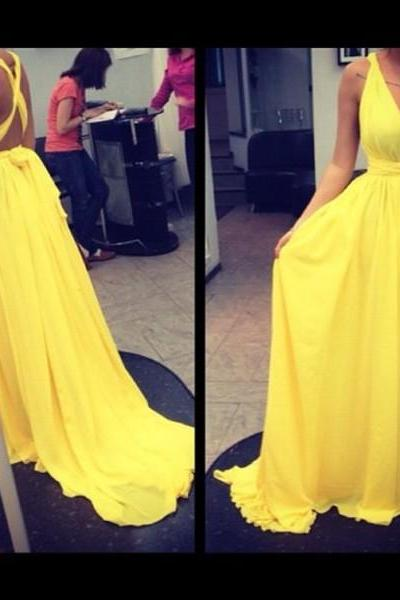 Yellow Prom Dress,Backless Evening Dress,Fashion Prom Dress,Sexy Party Dress,Custom Made Evening Dress