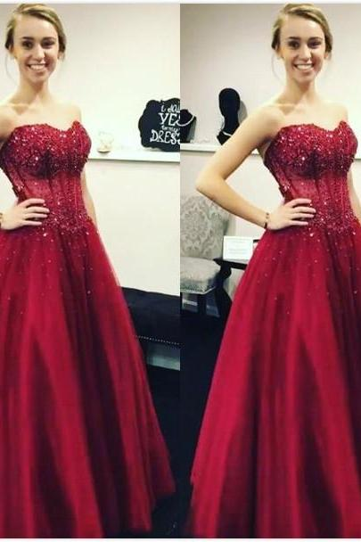 Cheap Prom Dresses 2017 Formal Burgundy Sleeveless Sweetheart Applique Floor-Length Ball Gown Cocktail Dress Custom Made