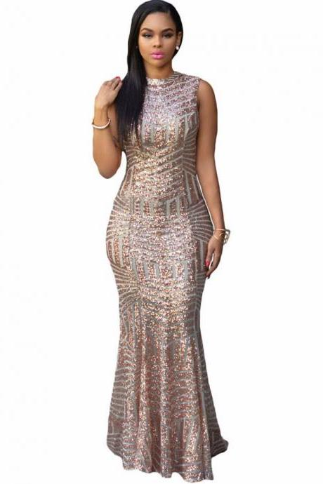 Gold Sleeveless Floor Length Gold Mermaid Dress