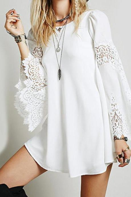 White Lace Flare-Sleeved Short Chiffon Shift Dress