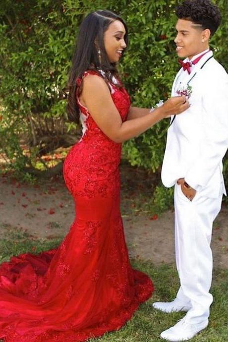 Cheap prom dresses 2017,Red Prom Dress,Lace Prom Dress,Mermaid Prom Dress,Fashion Prom Dress,Sexy Party Dress,Custom Made Evening Dress