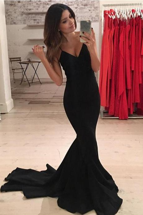 Prom Dresses,Prom Dresses Long Mermaid,Prom Dresses Spaghetti Strap,Black Prom Dresses,Prom Dresses V Neck,Long Evening Dresses,Women Formal Gowns,Sexy Party Dresses,Elegant Pageant Dresses
