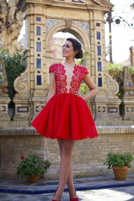 Cheap homecoming dresses 2017,Lace Prom Dress,Red Prom Dress,Mini Prom Dress,Fashion Homecoming Dress,Sexy Party Dress, New Style Evening Dress