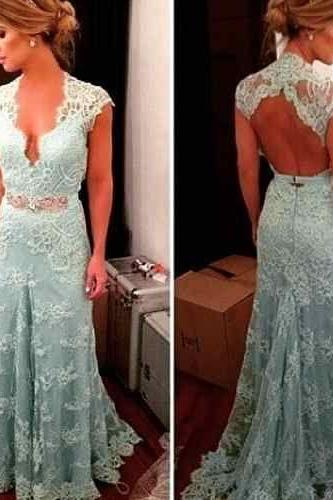 Custom Made Mint Green Lace Floor Length Bridesmaid Dress with Open Back, Prom Dress