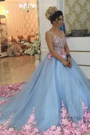 Cheap prom dresses 2017,Baby Blue 3D Floral Masquerade Ball Gowns 2017 Luxury Cathedral Train Flowers Quinceanera Dresses Prom Gowns Sweety Girls 16 Years Dress