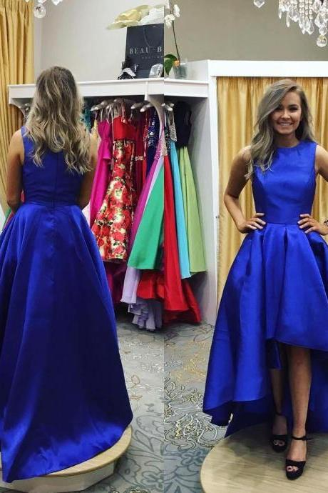 High Low Satin Prom Dresses 2017 Red Royal Blue Evening Dress Formal Celebrity Party Prom Gowns for Girls vestidos de festas