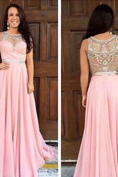Cheap prom dresses 2017,Prom Dresses Pink 2017 Round Neck Crystal Sleeveless A-line Chiffon