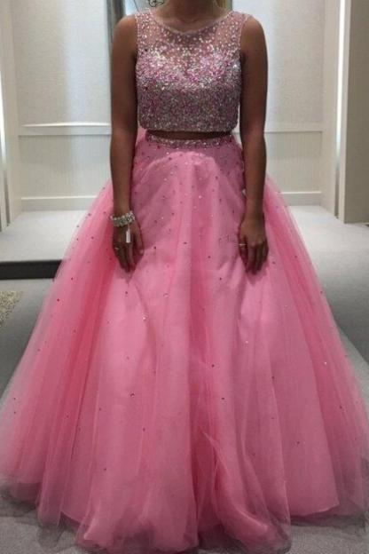 Cheap prom dresses 2017,Beading Ball Gown Tulle Two Pieces Pink Prom Dresses 2017