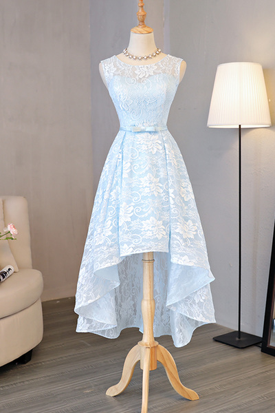 Sexy Lace Evening Dress,Sleeveless Light Blue Prom Dress,Elegant Homecoming Dress,High Low Prom Gown,Party Dress