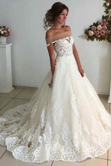 Cheap wedding dresses 2017,Charming Wedding Dresses,Tulle Wedding Dresses, Lace Wedding Dress,White Wedding Gown, Sexy Bridal Dresses