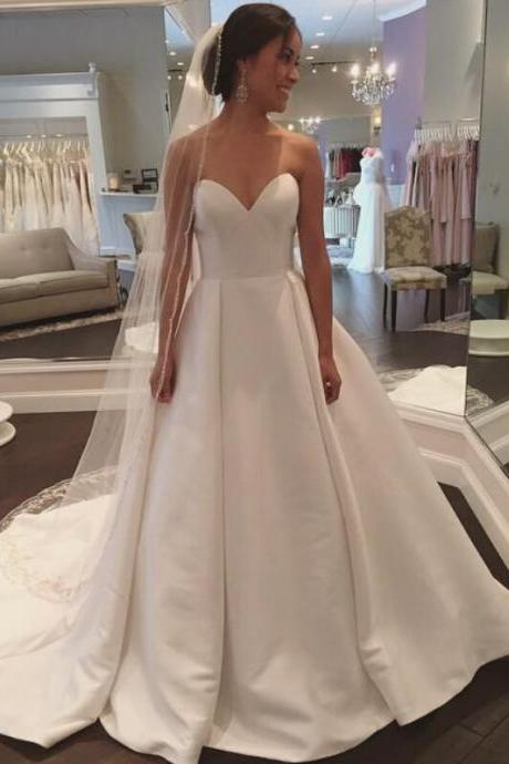 Cheap wedding dresses 2017,A Line Wedding Dress, Simple Wedding Dress, Satin Wedding Dress, Sweetheart Neckline Wedding Dress, Cheap Wedding Dress, Wedding Dresses 2017, Bridal Dresses for Women, Vestido De Novia