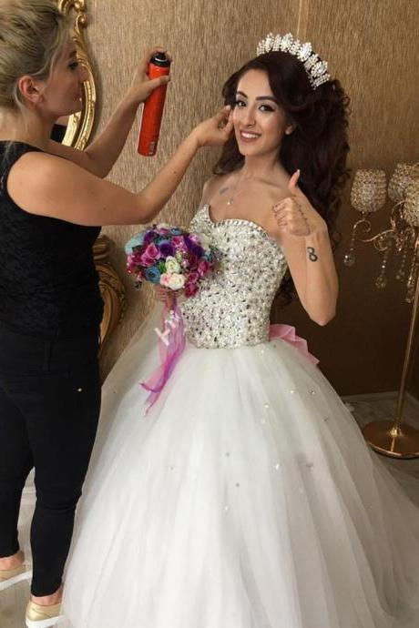 Cheap wedding dresses 2017,Sparkly Crystals Tulle Ball Gown Wedding Dress with Bow
