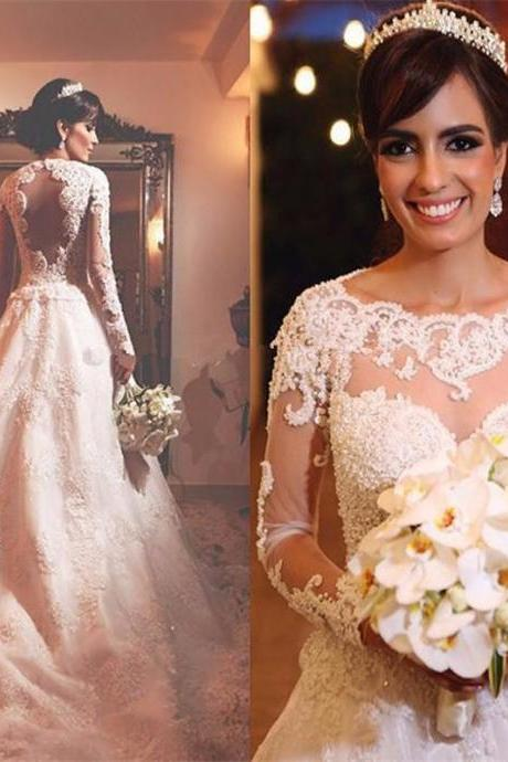 Cheap wedding dresses 2017,Fashion Full Lace Wedding Dresses Scoop Neck Long Sleeves Button Back Sweep Train Bridal Gowns Vestido de noiva