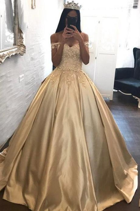 Cheap prom dresses 2017,Ball Gowns Prom Dresses Satin,Off the Shoulder Appliqued Quinceanera Dresses Sweep Train