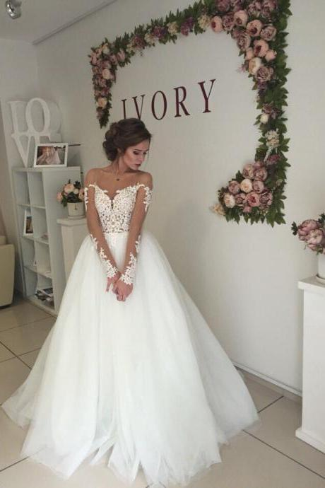 Cheap wedding dresses 2017,Long Sleeves Sheer Bateau Neckline Wedding Dress with Open V Back