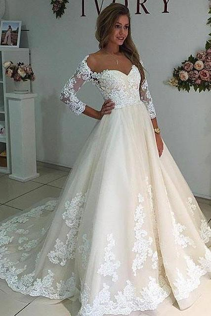 Cheap wedding dresses 2017,Sheer Neck Long Sleeves Ivory Wedding Dress with Lace