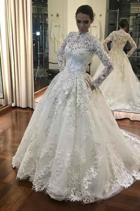 Cheap wedding dresses 2017,Long Sleeves High Neck Muslin Bridal Dresses,Unique Lace Bridal Dresses,Court Train Vintage Wedding Dress Lace,White Bridal Dresses