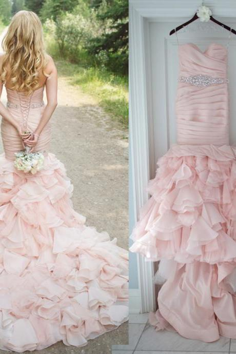Cheap wedding dresses 2017,Blush Mermaid Wedding Dress with Tiered Skirt