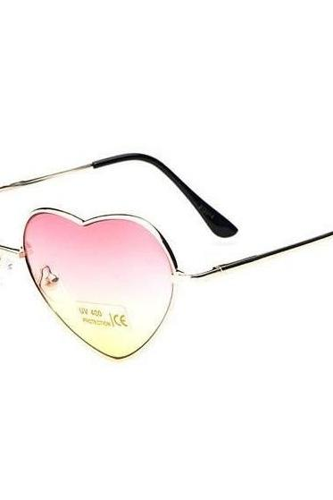 Cheap Heart-shaped rose Valentine gift reflective lenses girl sunglasses
