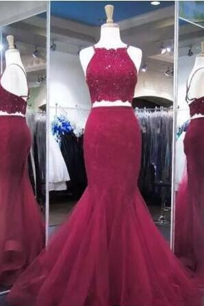 Cheap prom dresses 2017,Burgundy Two Pieces Dresses Evening Wear Back Cross Straps Sexy Mermaid Prom Dress Floor Length Sequins Lace Homecoming Party Dress