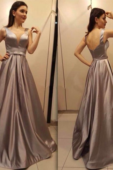 Cheap prom dresses 2017,satin V neck Backless Long Evening Dress with Bow