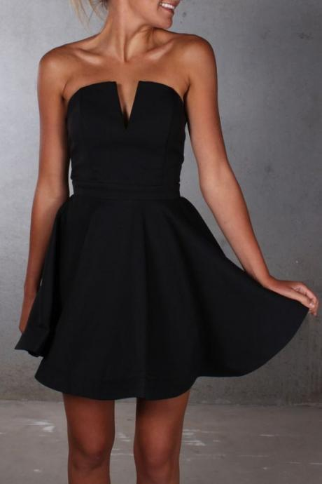 Cheap homecoming dresses 2017,Black Simple Homecoming Dress, V Neck Homecoming Dresses