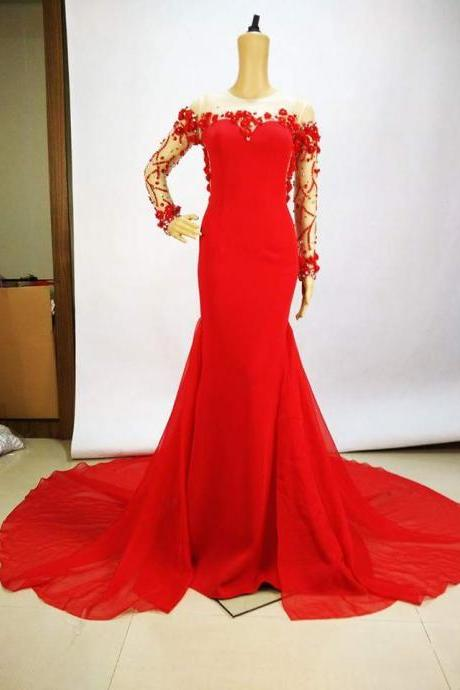 Cheap prom dresses 2017,Sexy red long sleeve beaded chiffon long prom dress