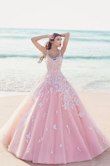 Cheap wedding dresses 2017,Charming Pink Wedding Dress,Ball Gown Wedding Dresses,Applique Beading Wedding Dress,Pretty Spaghetti Straps Bridal Dress