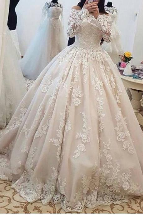 2017 Romantic Lace Wedding Dresses with Long Sleeves Ball Gown Wedding Gowns Bridal Bride Dresses Off the Shoulder Wedding Dresses vestido de noiva