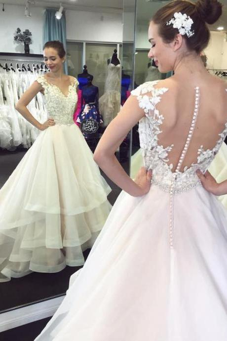 Cheap wedding dresses 2017,Lace Wedding Dress,Appliqued Wedding Dresses with Chapel Train,A Line Wedding Dresses,Organza Bridal Gowns,Ball Gown Wedding Dresses, Wedding Dress