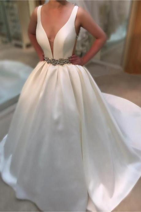 Cheap wedding dresses 2017,Wedding Dress, Wedding Gown,Deep V Neck White Satin Ball Gowns Wedding Dresses 2017 Vintage Bridal Gowns