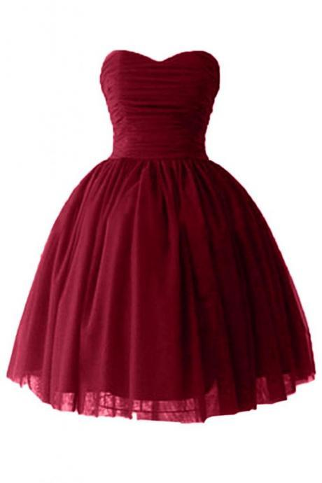 Ball Gown Sweetheart Cocktail Dresses Satin Homecoming Dresses