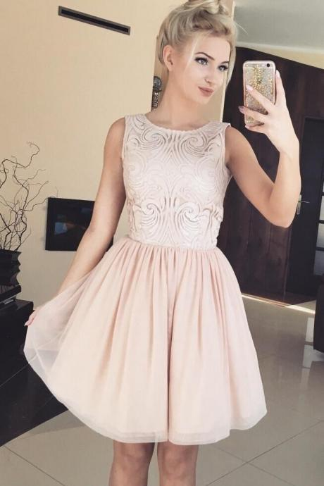 Cheap homecoming dresses 2017,Elegant A-Line Jewel Sleeveless Short Homecoming Dress With Lace