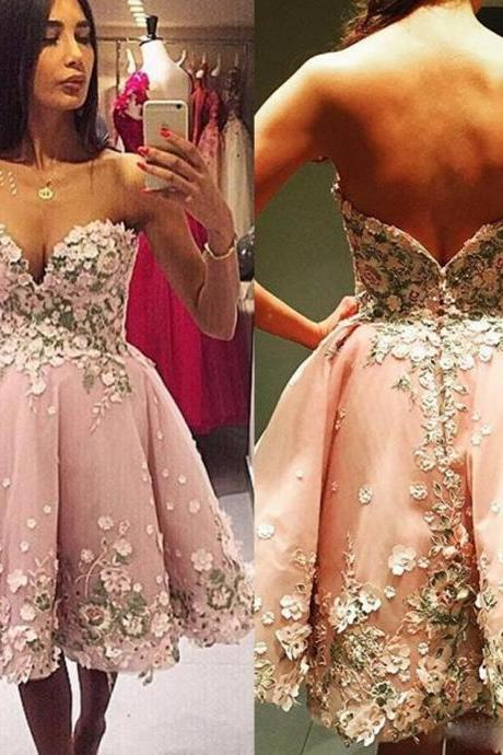 Cheap homecoming dresses 2017,New Beauty Short Girls Homecoming Dresses Sexy A Line Sweetheart Backless Party Prom Gowns With Flowers