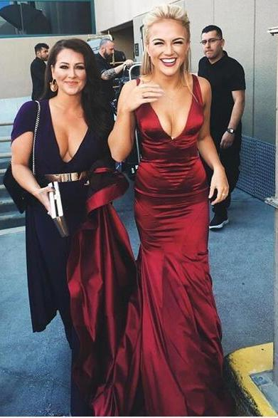 Cheap prom dresses 2017,Burgundy Mermaid Satin Prom Dresses 2017 Sexy Deep V Neck Evening Dresses Formal Gowns Vestidos