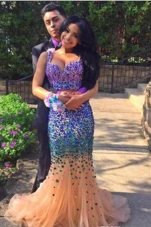 Cheap prom dresses 2017,Sparkly Sexy Two Piece Prom Dresses with Stones Crystal Beaded Long Party Prom Gowns 2017 Formal Party Gowns