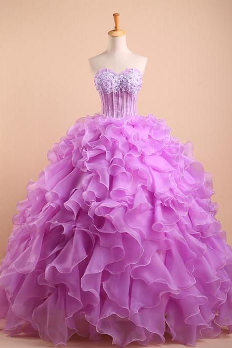 Cheap prom dresses 2017,Real Made Quinceanera Dress,Purple Quinceanera Dresses,Sweetheart Beaded Tulle Puffy Ball Gown Prom,New Arrivals Sweet 16 Dresses
