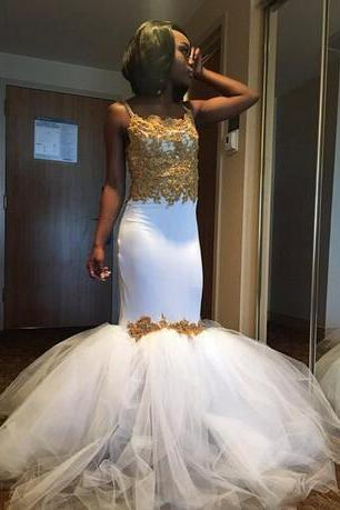 Cheap prom dresses 2017,South African Spaghetti Prom Dresses 2017 Gold Lace Appliques Mermaid Evening Gowns Tulle Floor Length Cocktail Formal Party Vestidos