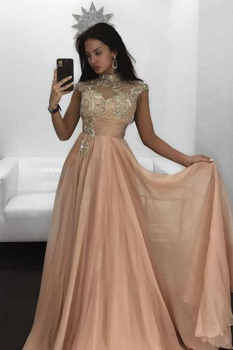 Cheap prom dresses 2017,Long Prom Evening Dress 2017 abendkleider Beading Cap Sleeves High Neck Woman Party Gowns A line Chiffon Prom Dresses with Rhinestone robe de soiree