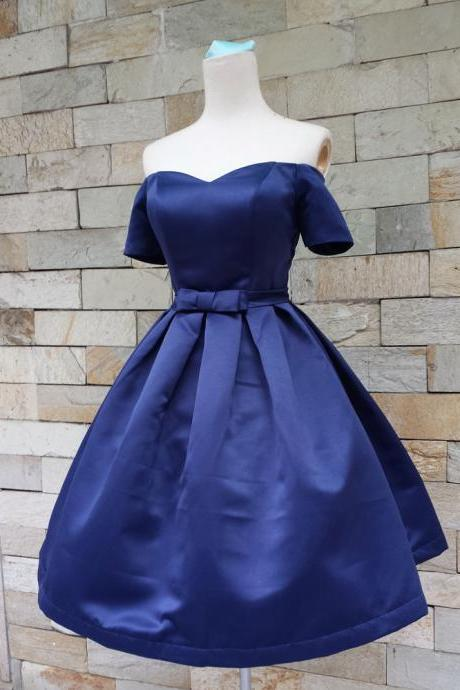 Off Shoulder Homecoming Dresses,Cheap homecoming dresses 2017,Royal Blue Off-The-Shoulder Sweetheart Neckline Short Homecoming Dress with Bow Accent